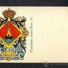 Postales: POSTAL CON EL ESCUDO DE LA PROVINCIA DE ALICANTE (LIT. HERMENEGILDO MIRALLES NUM. 15). Lote 35870577