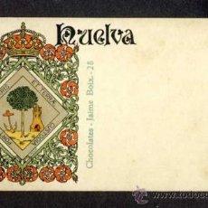 Postales: POSTAL CON EL ESCUDO DE LA PROVINCIA DE HUELVA (LIT. HERMENEGILDO MIRALLES NUM. 28). Lote 35870614