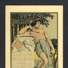 Postales: POSTAL DE LA V EXPOSICIÓ INTERNACIONAL D' ART DE BARCELONA DEL 1907. MODERNISTA, ART NOUVEAU. Lote 37883078