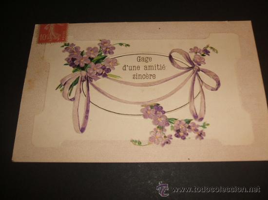 ANTIGUA POSTAL FELICITACION EN RELIEVE (Postales - Postales Temáticas - Estilo)