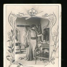 Postales: POSTAL FOTOGRAFIA DE CHUSSEAU FLAVIENS DE UNA ACTRIZ VESTIDA DE MILITAR - CIRCULADA 1902. Lote 39211697