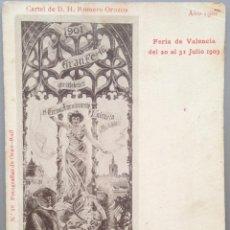 Postales: POSTAL ILUSTRADA MUJER MODERNISTA, CARTEL FERIA VALENCIA 1901 1903/ 2. MODERNISMO, ART NOUVEAU.. Lote 39398586