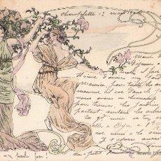 Postales: BONITA TARJETA POSTAL MODERNISTA, ART NOUVEAU DEL AÑO 1902, BELLAS SEÑORITAS. Lote 39781708