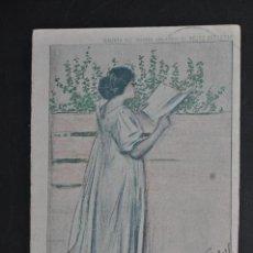 Postales: ANTIGUA POSTAL CUBIERTA DEL 2º AÑO (1903) DE HOJAS SELECTAS. ILUST. POR RAMON CASAS. CIRCULADA. Lote 43560382