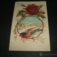Postales: POSTAL PAJARO Y ROSA EN RELIEVE HACIA 1906. Lote 43608082