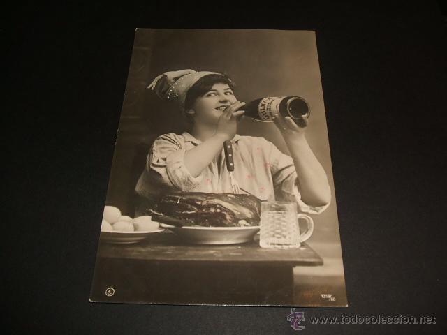 POSTAL 1908 UN BANQUETAZO CIRCULADA CON MATASELLOS AMBULANTE ASTILLERO ONTANEDA (Postales - Postales Temáticas - Estilo)