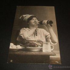 Postales: POSTAL 1908 UN BANQUETAZO CIRCULADA CON MATASELLOS AMBULANTE ASTILLERO ONTANEDA. Lote 45426730