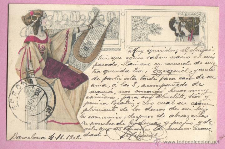 MUY BUENA Y BONITA POSTAL PURAMENTE MODERNISTA - 1902 - DE M.M. VIENNE (Postales - Postales Temáticas - Estilo)
