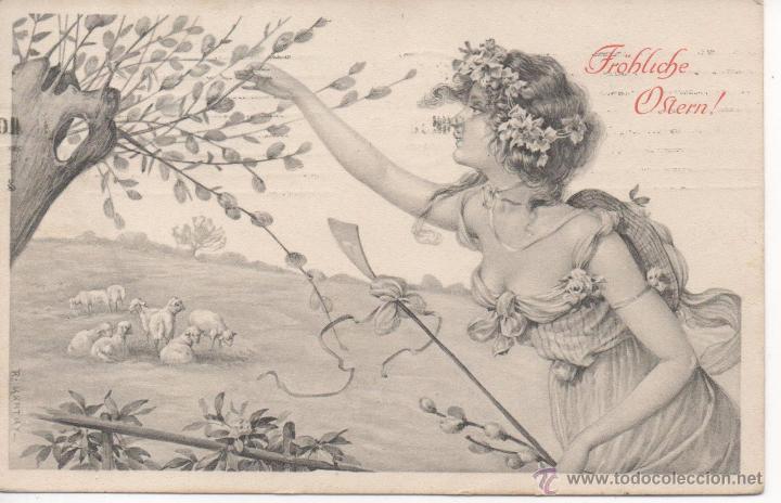 POSTAL MODERNISTA - ART NOUVEAU, HERMOSAS SEÑORITA AÑO 1908, PAREJA SELLOS 3 HELLER AUSTRIA (Postales - Postales Temáticas - Estilo)