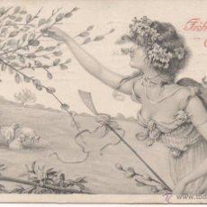 Postales: POSTAL MODERNISTA - ART NOUVEAU, HERMOSAS SEÑORITA AÑO 1908, PAREJA SELLOS 3 HELLER AUSTRIA. Lote 48695329