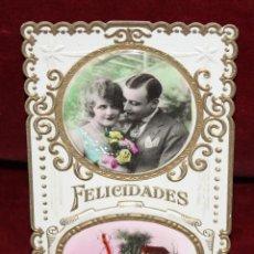 Postales: ANTIGUA POSTAL TROQUELADA DE ESTILO MODERNISTA. FELICITACION. SIN CIRCULAR. Lote 48844402