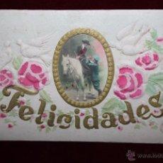 Postales: ANTIGUA POSTAL FELICITACION DE ESTILO MODESNISTA. SERIE BAILES REGIONALES. SIN CIRCULAR. Lote 48844520