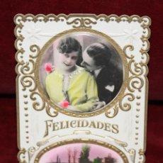Postales: ANTIGUA POSTAL TROQUELADA DE ESTILO MODERNISTA. FELICITACION. SIN CIRCULAR. Lote 48846457