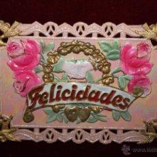 Postales: ANTIGUA POSTAL EN RELIEVE DE ESTILO MODERNISTA. FELICITACION. SIN CIRCULAR. Lote 48846847
