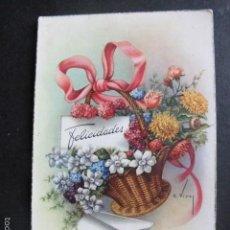 Postales: POSTAL ANTIGUA FELICIDADES FLORES VIVES ESCRITA AÑO 1955. Lote 58517996