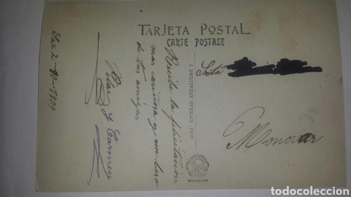 Postales: Escenas andaluzas- 1 Postal fotográfica coloreada. Industria Fotográfica. Circulada 1909 - Foto 2 - 65249621