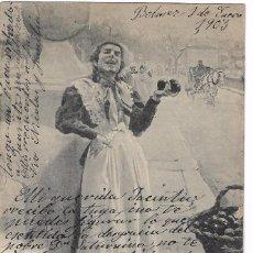 Cartes Postales: ANTIGUA POSTAL - VENDEDORA DE NARANJAS - HAUSER Y MENET 551 MADRID - DE BLANCO Y NEGRO - CIRC. 1903. Lote 74876195