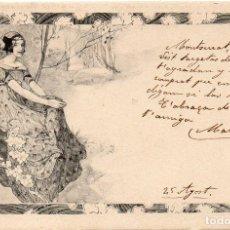 Postales: PS7462 POSTAL MODERNISTA CON FIGURA FEMENINA. M.M. CIRCULADA. PRINC. S. XX. Lote 79213725