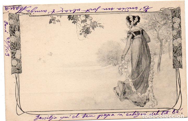 PS7464 POSTAL MODERNISTA CON FIGURA FEMENINA. M.M. CIRCULADA. 1903 (Postales - Postales Temáticas - Estilo)