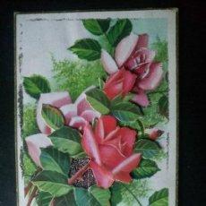 Postales: POSTAL ANTIGUA ROSAS FLORES CON PURPURINA. Lote 98082771