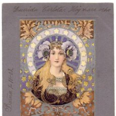 Postales: PS7788 POSTAL MODERNISTA CON FIGURA FEMENINA. CIRCULADA. 1902. Lote 100970287