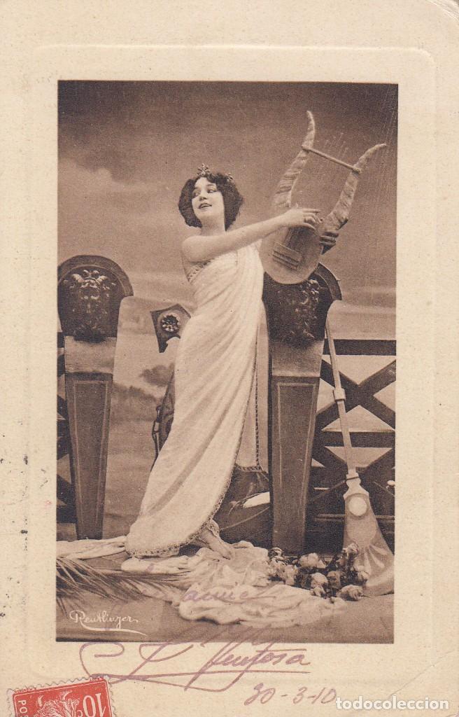 POSTAL: 1910 MUSA CON LIRA. DEDICADA - ARGELIA / BARCELONA (Postales - Postales Temáticas - Estilo)