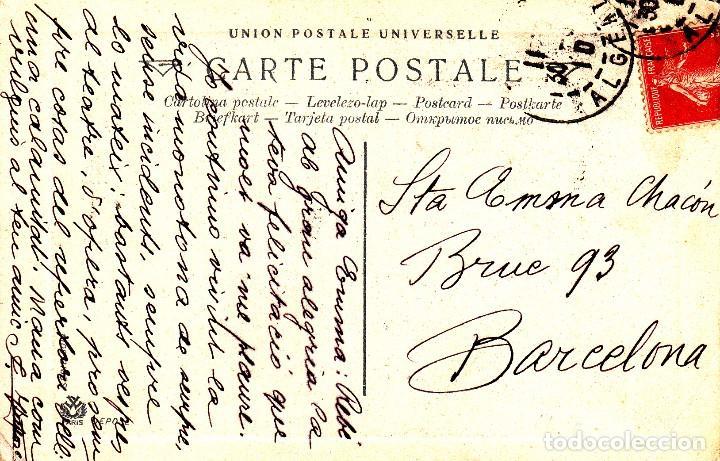 Postales: POSTAL: 1910 MUSA CON LIRA. DEDICADA - ARGELIA / BARCELONA - Foto 2 - 102523475