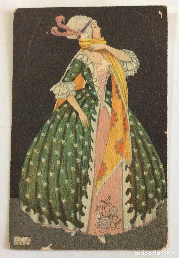 POSTAL MODERNISTA,ART NOUVEAU, JUGENDSTIL. B.K.W.I. 384-2. SERIE VESTIDOS DE ÉPOCA. MELA KOEHLER. (Postales - Postales Temáticas - Estilo)