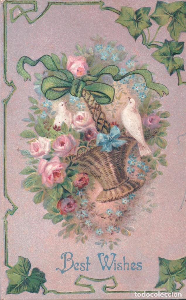POSTAL EN RELIEVE CIRCULADA 1910 - BEST WISHES - PALOMA - CESTA FLORES - ROSAS - LAZO (Postales - Postales Temáticas - Estilo)