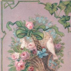 Postales: POSTAL EN RELIEVE CIRCULADA 1910 - BEST WISHES - PALOMA - CESTA FLORES - ROSAS - LAZO. Lote 103757931