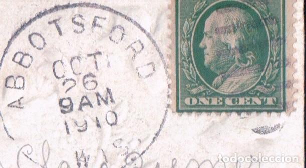 Postales: POSTAL EN RELIEVE CIRCULADA 1910 - BEST WISHES - PALOMA - CESTA FLORES - ROSAS - LAZO - Foto 3 - 103757931