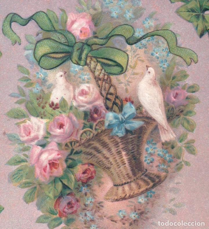 Postales: POSTAL EN RELIEVE CIRCULADA 1910 - BEST WISHES - PALOMA - CESTA FLORES - ROSAS - LAZO - Foto 4 - 103757931