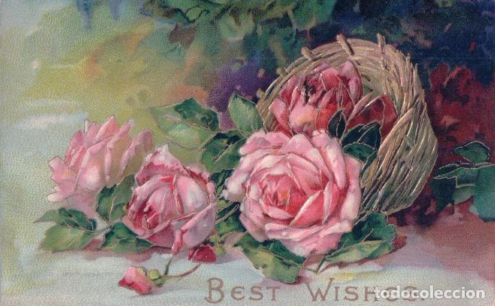 POSTAL EN RELIEVE - BEST WISHES - CESTA FLORES - ROSAS - DIBUJO (Postales - Postales Temáticas - Estilo)