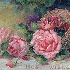 Postales: POSTAL EN RELIEVE - BEST WISHES - CESTA FLORES - ROSAS - DIBUJO. Lote 103758087