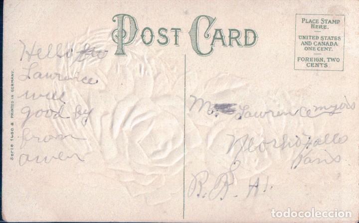 Postales: POSTAL EN RELIEVE - BEST WISHES - CESTA FLORES - ROSAS - DIBUJO - Foto 2 - 103758087