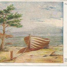 Postales: FELICITACION ARTIS-MUTI *PLAYA SALVAJE* - H. ULLBERG (PINTADO CON LA BOCA). Lote 104266467