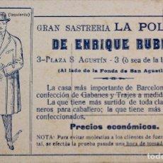 Postales: P-7877. POSTAL DE PROPAGANDA DE GRAN SASTRERIA LA POLAR, DE ENRIQUE RUBIO. AÑOS TREINTA.. Lote 105129487