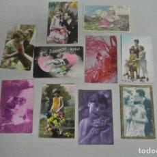 Postales: LOTE DE ANTIGUAS POSTALES ROMANTICAS. Lote 109049723