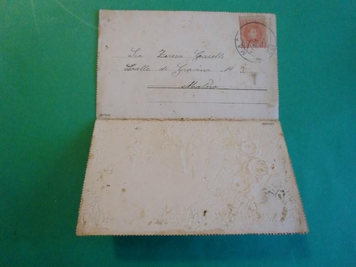 Postales: CARTE POSTALE - ESTILO ROMANTICO CARTONE EN RELIEVE DIPTICA SELLADA - PRINCIPIOS SIGLO XX - Foto 2 - 109608039