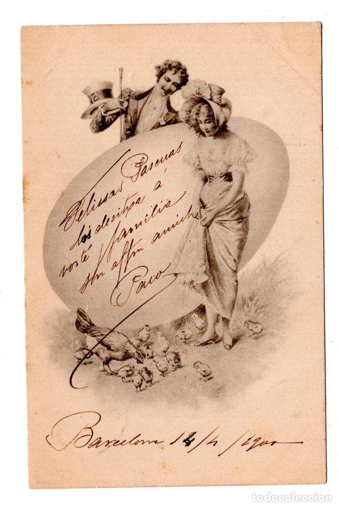CABALLERO Y MUJER. CIRCULADA EN BARCELONA EN 1900. CON SELLO ALFONSO XIII PELON. (Postales - Postales Temáticas - Estilo)