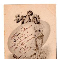 Postales: CABALLERO Y MUJER. CIRCULADA EN BARCELONA EN 1900. CON SELLO ALFONSO XIII PELON.. Lote 110248231