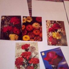 Postales: LOTE 5 POSTALES ANTIGUAS FLORES . Lote 112449387