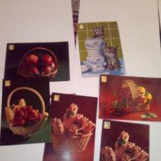 Postales: LOTE 6 POSTALES ANTIGUAS FRUTOS Y GATITOS. Lote 112450223