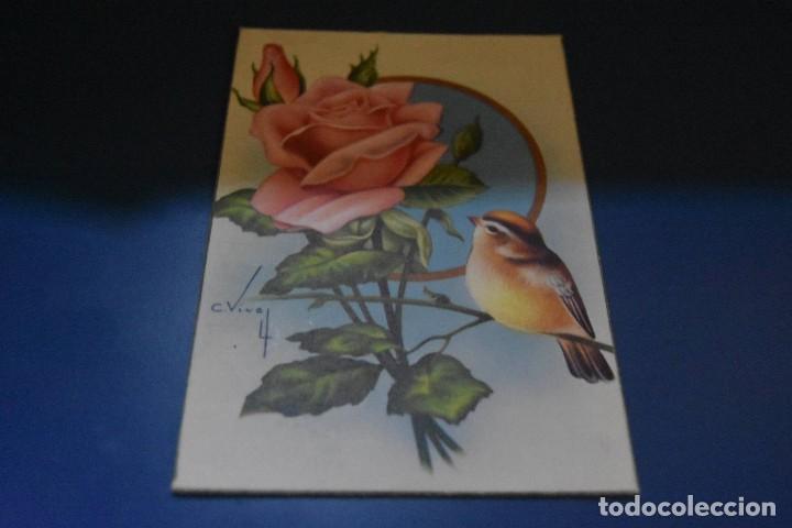 POSTAL CIRCULADA - DIBUJO FLOR Y PAJARO - EDITA CYZ 550/B (Postales - Postales Temáticas - Estilo)