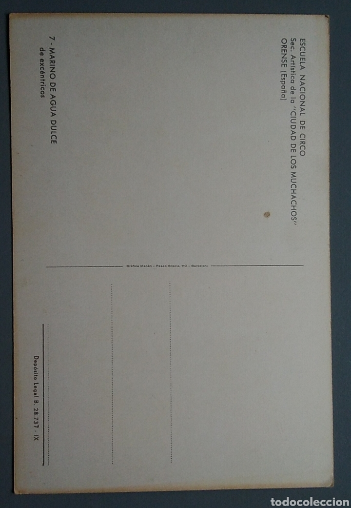 Postales: Bonita postal escuela nacional del circo orense 7 marino de agua dulce de excentricos - Foto 2 - 124069820