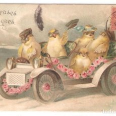 Cartes Postales: POSTAL ANTIGUA, DIBUJADA, PASCUA, FRANCIA, CIRCULADA CON SU SELLO. Lote 126769347
