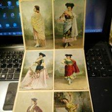 Postales: LOTE DE SEIS POSTALES DE VEDETTES CON MONTERA Y CAPOTE. Lote 131825001