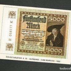 Postales: POSTAL SIN CIRCULAR - COLECTARJETAS A 10 - ALEMANIA 5.000 MARCOS 1922 - EDITA EUROHOBY . Lote 133693170