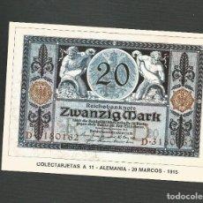 Postales: POSTAL SIN CIRCULAR - COLECTARJETAS A.11 - ALEMANIA - 20 MARCOS - 1915 - EDITA HOBBY. Lote 133695798