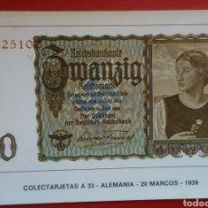 Postales: BONITA POSTAL COLECTARJETAS A 33 ALEMANIA 20 MARCOS 1939. Lote 134027922